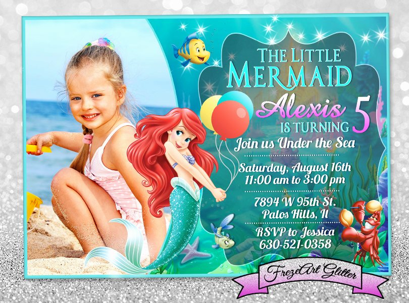 Mermaid Birthday Invitation Templates Beautiful Little Mermaid Ariel Birthday Invitation Card Invite Birthday