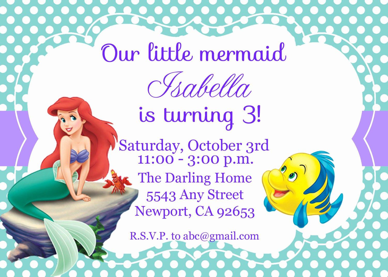 Mermaid Birthday Invitation Templates Best Of the Little Mermaid Invitation Ariel Disney by