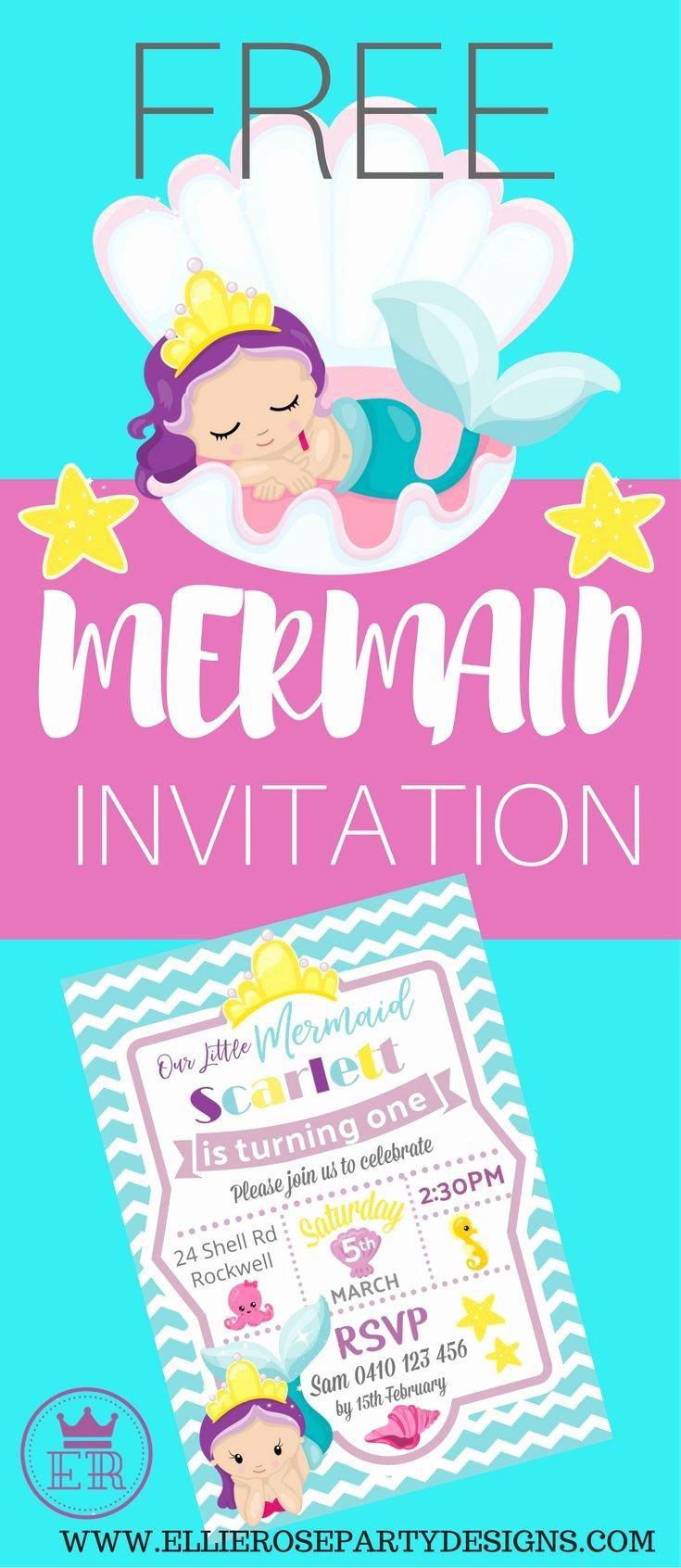 Mermaid Birthday Invitation Templates Elegant Best 25 Mermaid Party Invitations Ideas On Pinterest