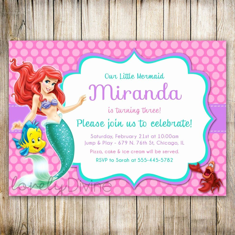 Mermaid Birthday Invitation Templates Elegant Little Mermaid Birthday Invitations Wording