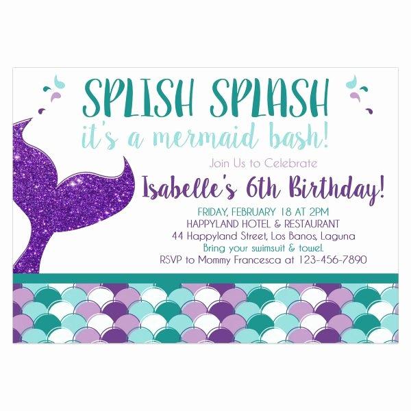 Mermaid Birthday Invitation Templates Fresh Mermaid Birthday Invitation Diy Printable Template