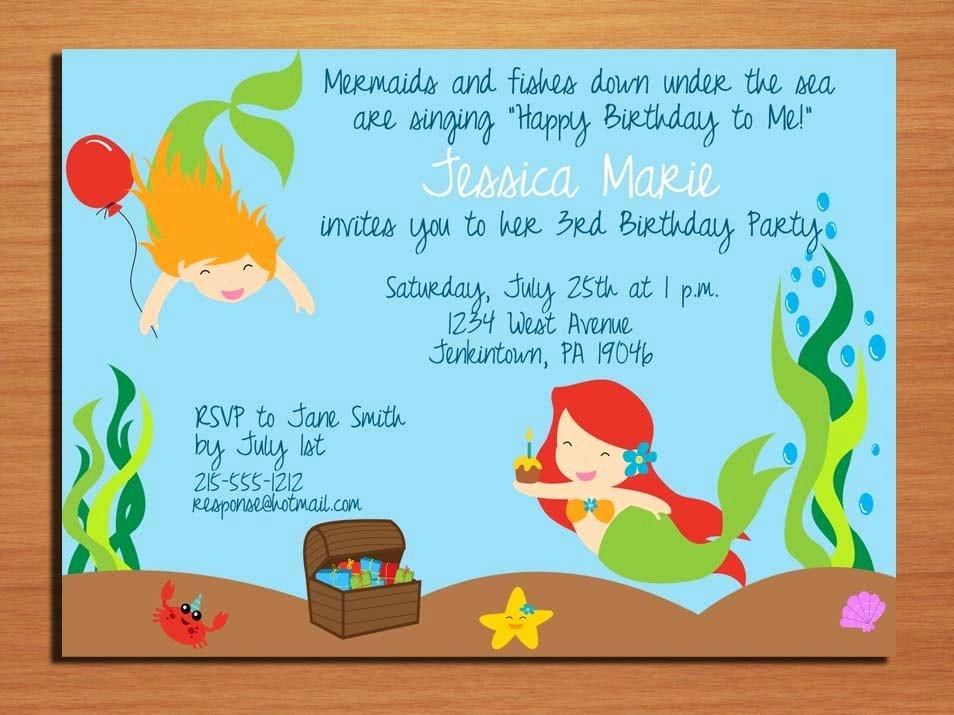 Mermaid Birthday Invitation Templates Inspirational Mermaid Invitation Template