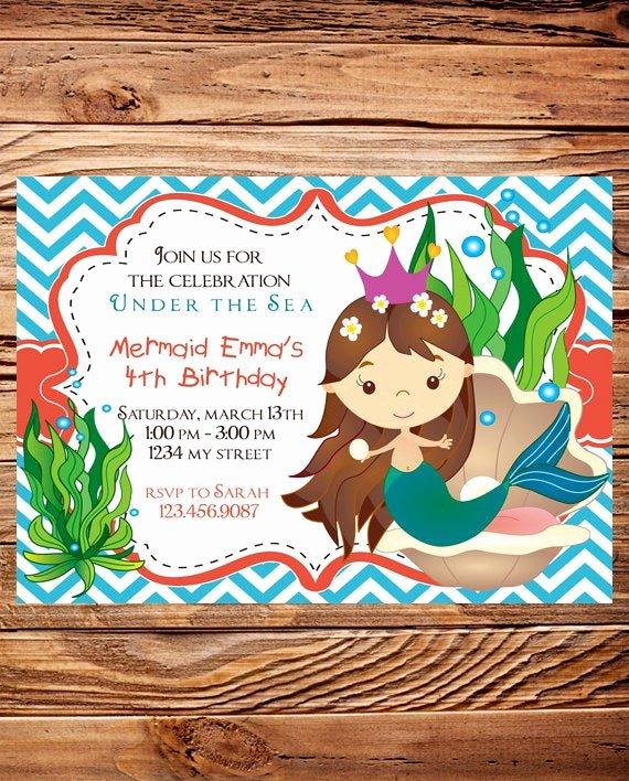 Mermaid Birthday Invitation Templates Lovely Mermaid Birthday Party Invitation Girl Little Mermaid