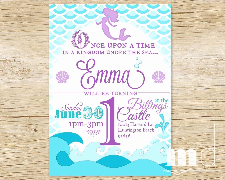 Mermaid Birthday Invitation Templates Lovely Mermaid Birthday Party Invitation Little Mermaid by