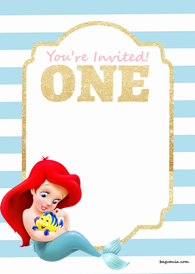 Mermaid Birthday Invitation Templates Luxury Free Printable Birthday Invitations – Ariel Mermaid – Free