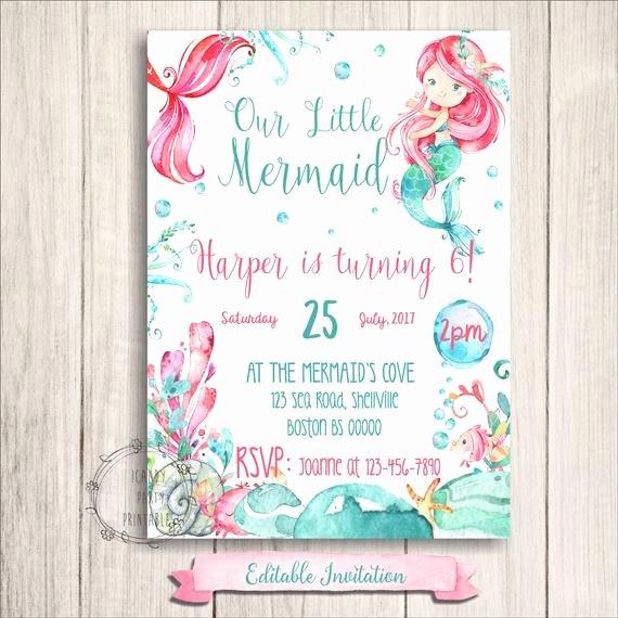 Mermaid Birthday Invitation Templates New Mermaid Birthday Invitations Little Mermaid Printables Under