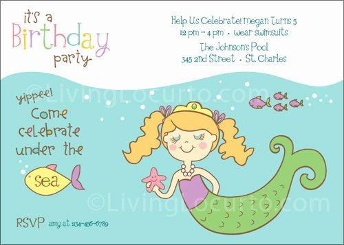 Mermaid Birthday Invitation Templates Unique Mermaid Birthday Party Printables