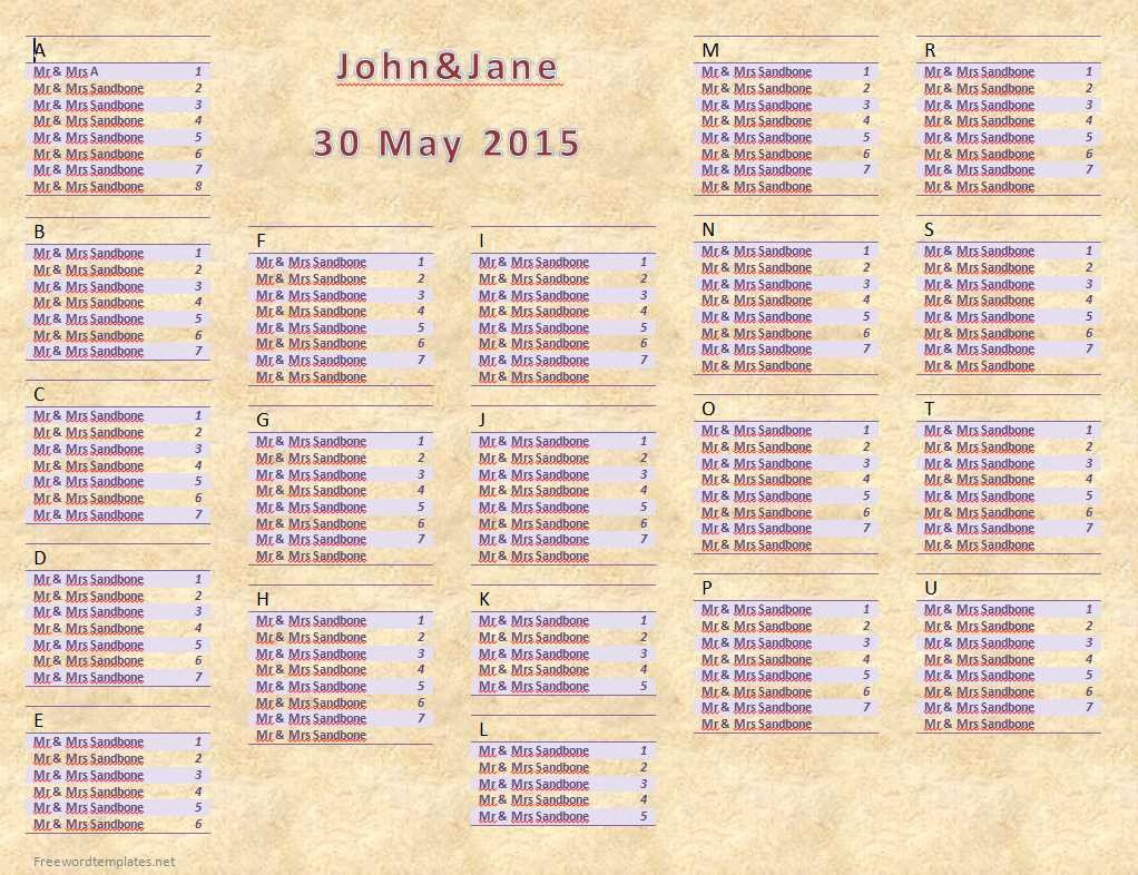 Microsoft Seating Chart Template Awesome Wedding Seating Chart