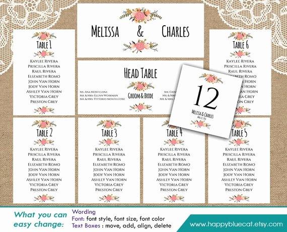 Microsoft Seating Chart Template Beautiful Diy Printable Wedding Seating Chart Template Instant