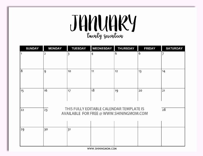 Microsoft Word Weekly Calendar Template Awesome Free Printable Fully Editable 2017 Calendar Templates In