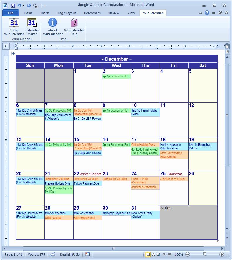 Microsoft Word Weekly Calendar Template Beautiful Calendar Creator for Microsoft Word with Holidays