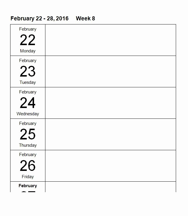 Microsoft Word Weekly Calendar Template Lovely 26 Blank Weekly Calendar Templates [pdf Excel Word]