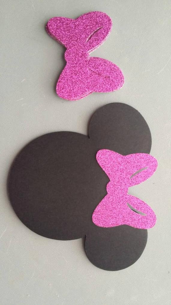 Minnie Mouse Cut Out Head Unique 10 Sets Minnie Mouse Head Silhouette Cut Outs with Glitter