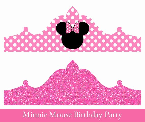 Minnie Mouse Template Pdf New Minnie Mouse Birthday Crown Printable Party Crown Minnie