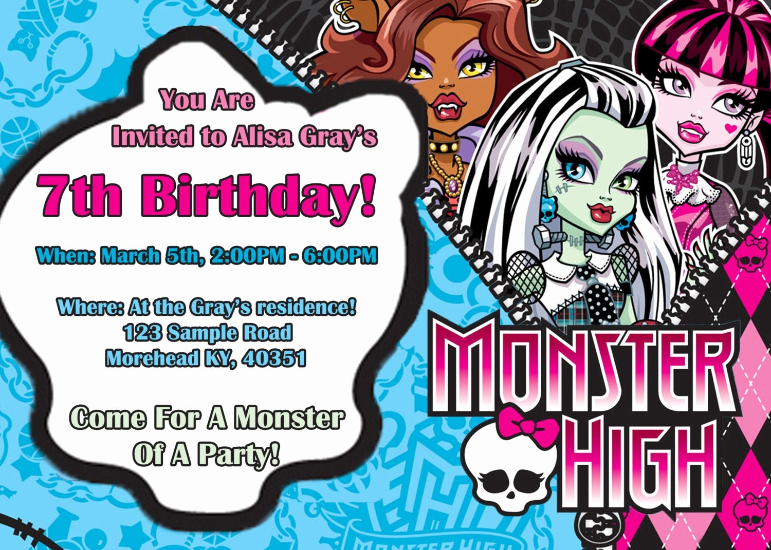 Monster High Invitations Templates Beautiful Unavailable Listing On Etsy