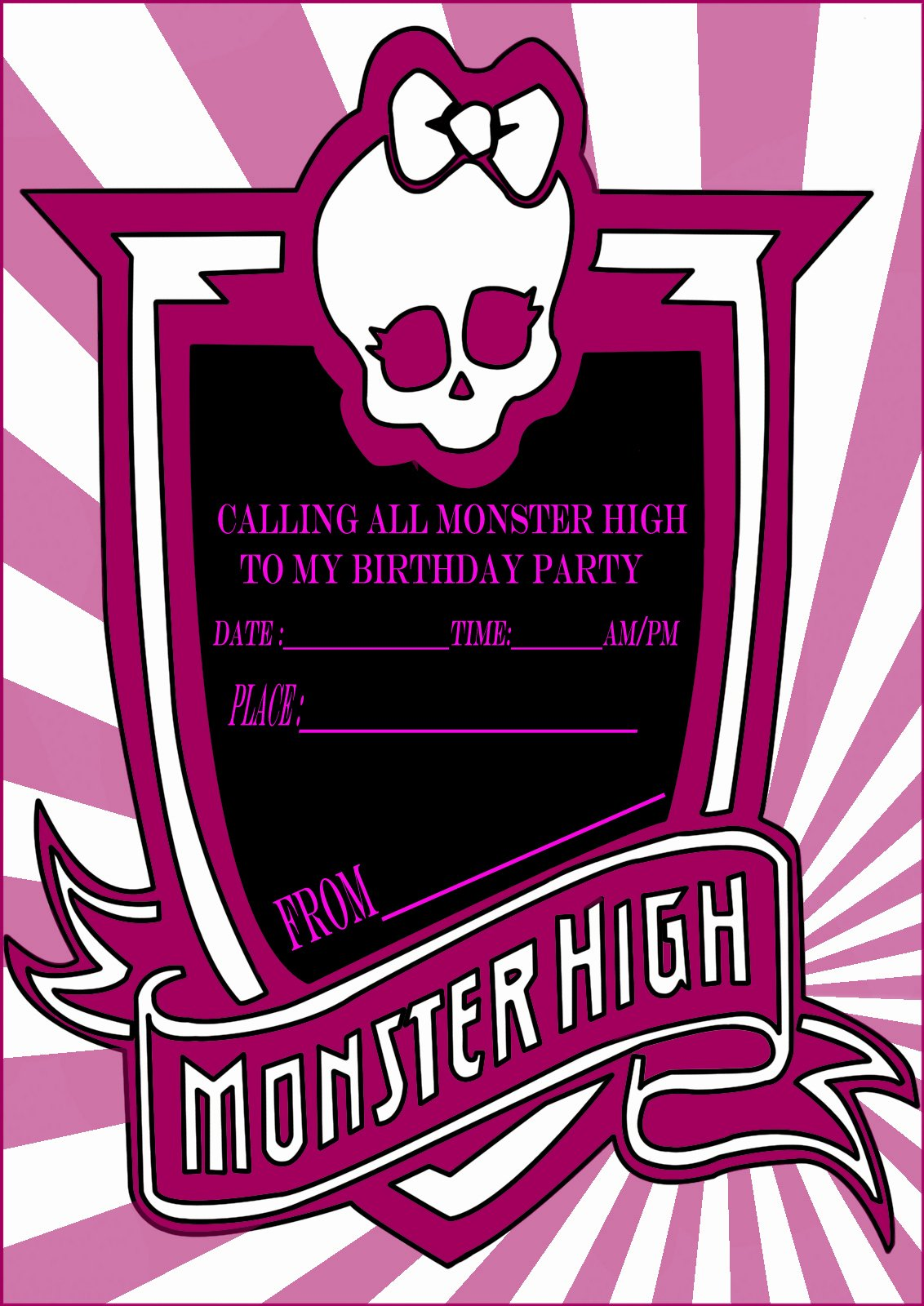 monster high party invitation card