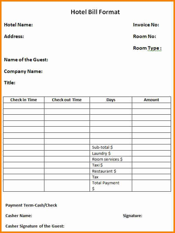 Motel 6 Receipt Template Best Of 9 Blank Hotel Bill