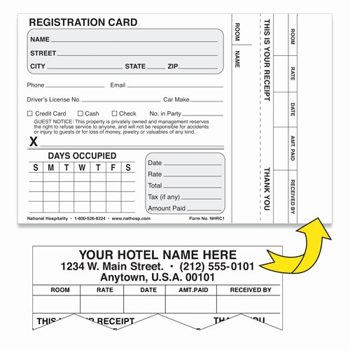 Motel 6 Receipt Template Luxury Custom Imprinted Registration Cards