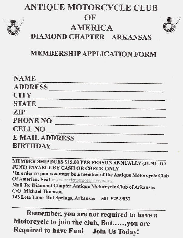 Motorcycle Club Application form Unique the Antique Motorcycle Club Of America Diamond Chapter
