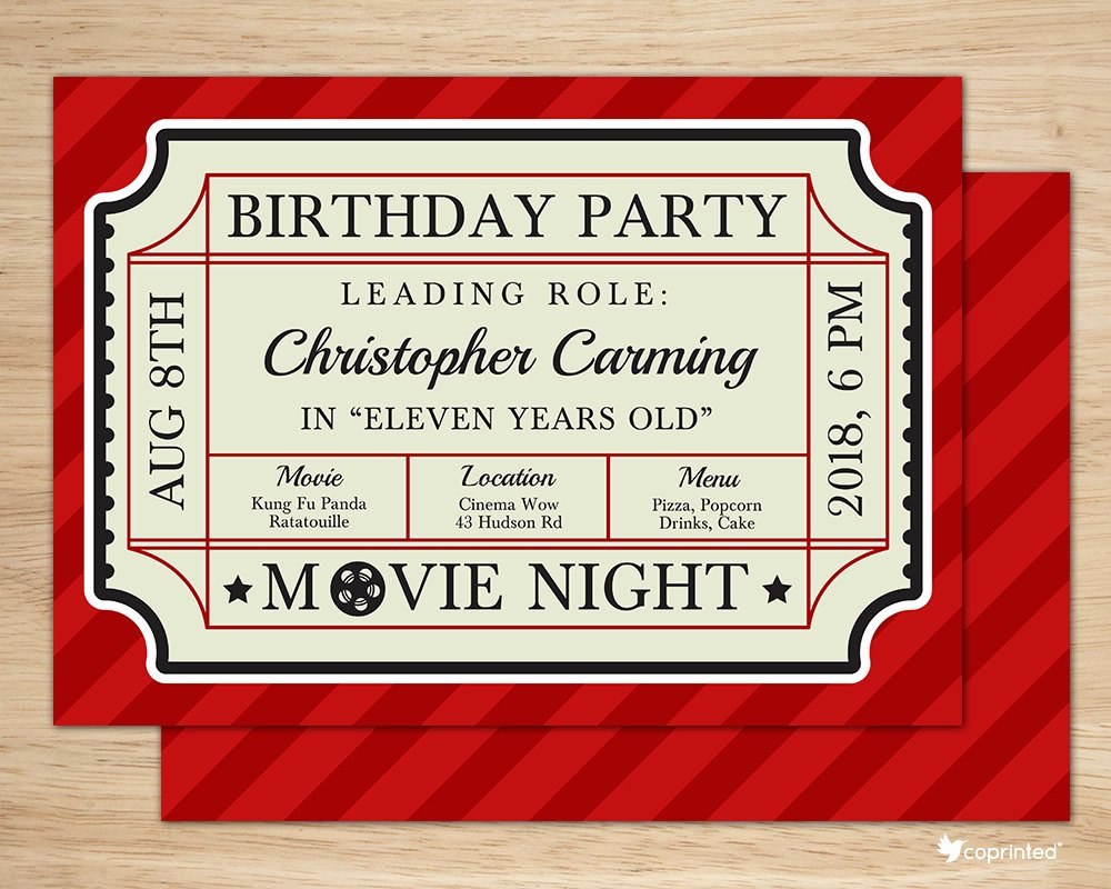 Movie Ticket Birthday Invitation Awesome Classic Movie Ticket Birthday Party Invitation Birthday