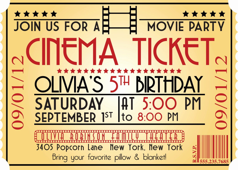 Movie Ticket Birthday Invitation Awesome Movie Ticket Birthday Invitations Ideas – Bagvania Free