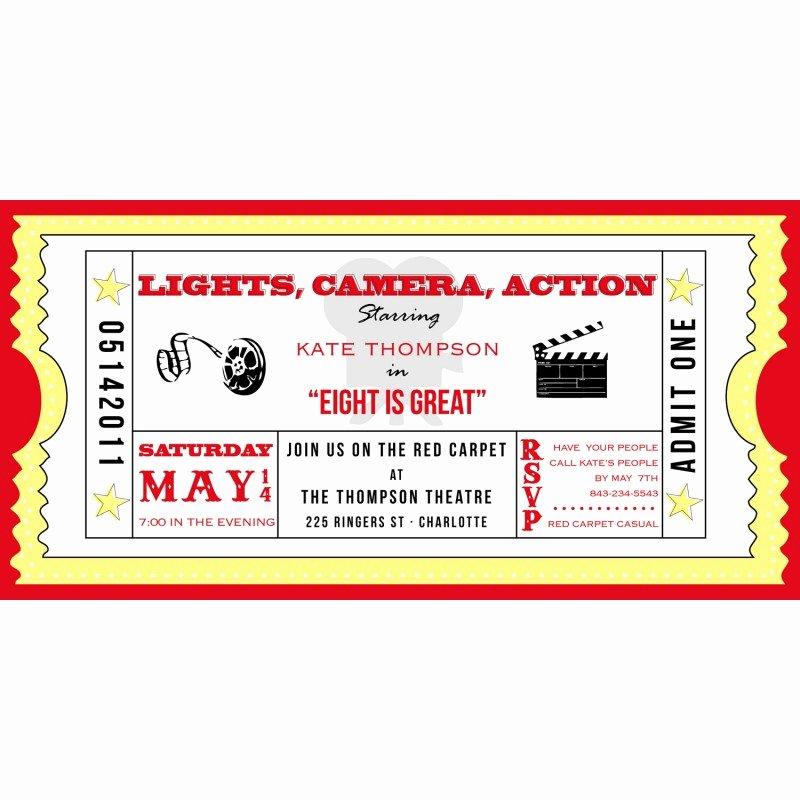 Movie Ticket Birthday Invitation Beautiful Movie Ticket Cinema Drive In Birthday Party Printable