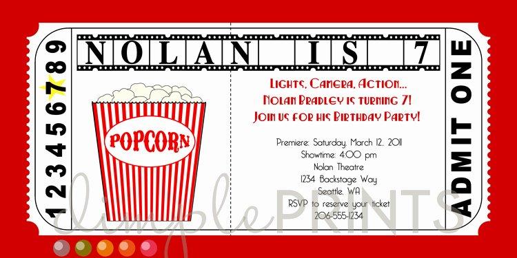 Movie Ticket Birthday Invitation Beautiful Movie Ticket Printable Birthday Invitation Dimple Prints