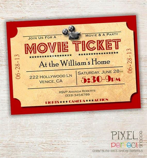 Movie Ticket Birthday Invitation Best Of the 25 Best Movie Night Invitations Ideas On Pinterest
