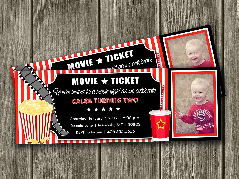 Movie Ticket Birthday Invitation Elegant Movie Ticket Birthday Invitations Template Free
