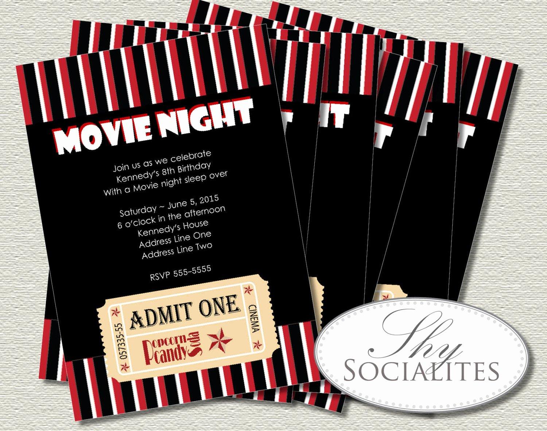 Movie Ticket Birthday Invitation Elegant Movie Ticket Invitation Ticket Invitation Movie Night