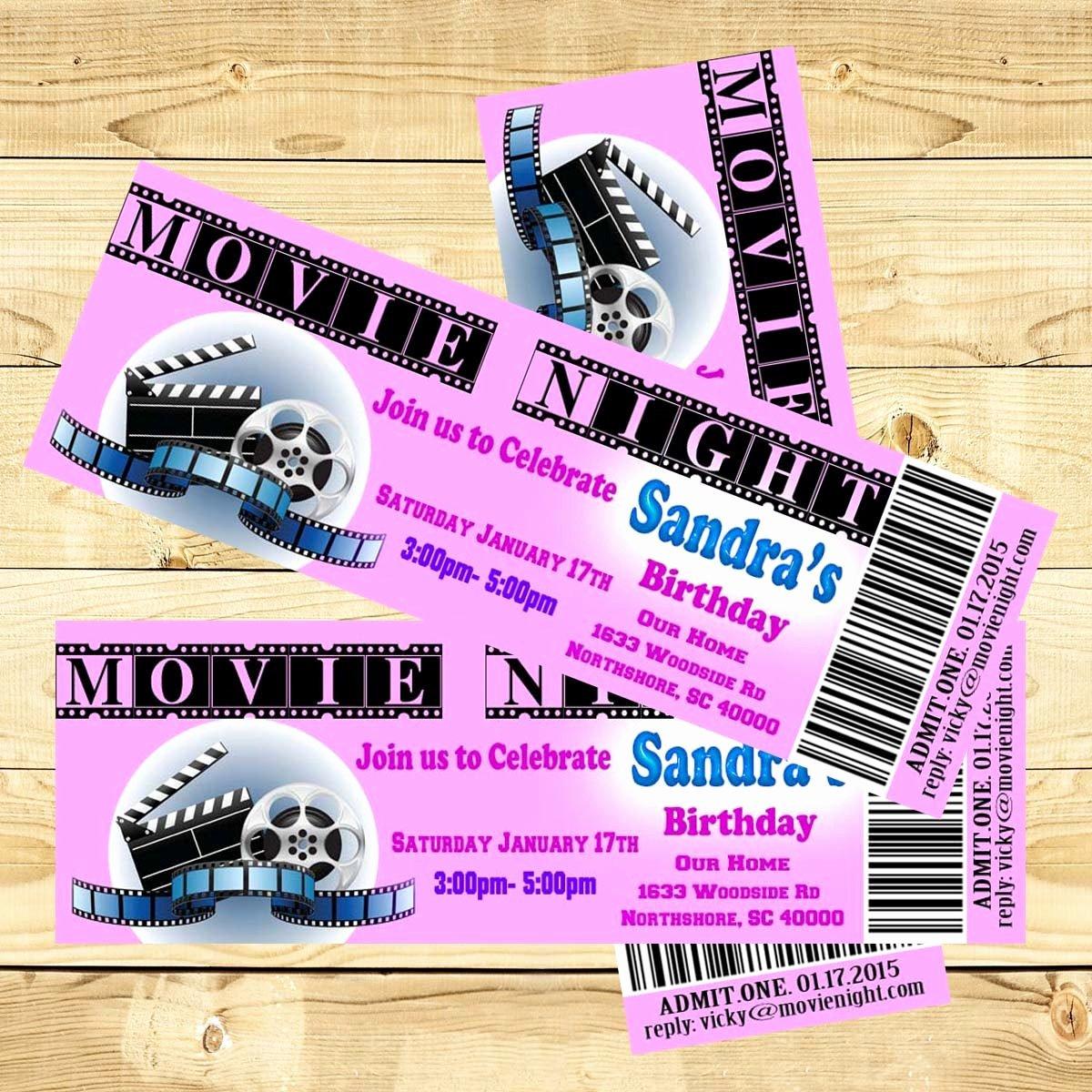 Movie Ticket Birthday Invitation Fresh Birthday Invitation Movie Ticket Personalized Invite Printable