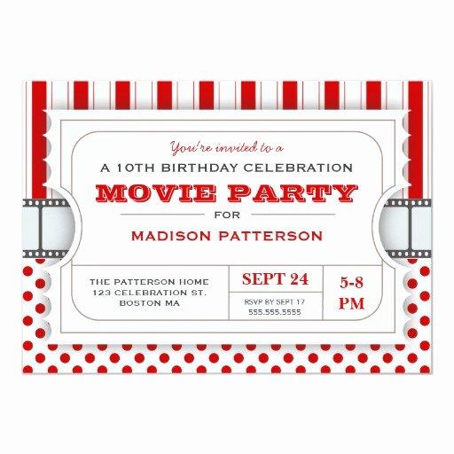 Movie Ticket Birthday Invitation Fresh Movie Party Birthday Party Admission Ticket