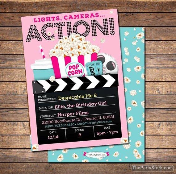 Movie Ticket Birthday Invitation Inspirational Movie Invitation Movie Party Invitation Printable Girls