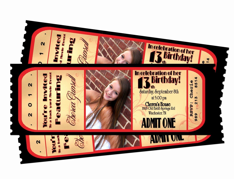 Movie Ticket Birthday Invitation Luxury Movie Night Ticket Birthday Printable Invitation by Sarahmkey