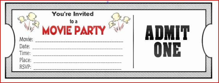 Movie Ticket Birthday Invitation Luxury Movie Ticket Birthday Invitations Ideas – Bagvania Free