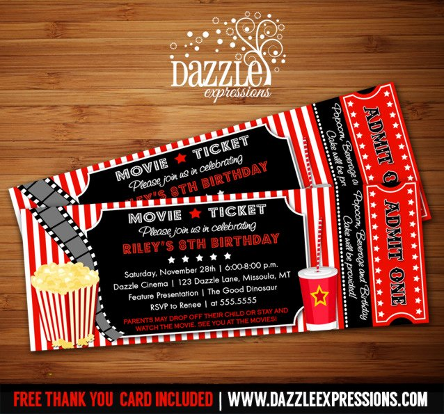 Movie Ticket Invitation Thank You Card Included