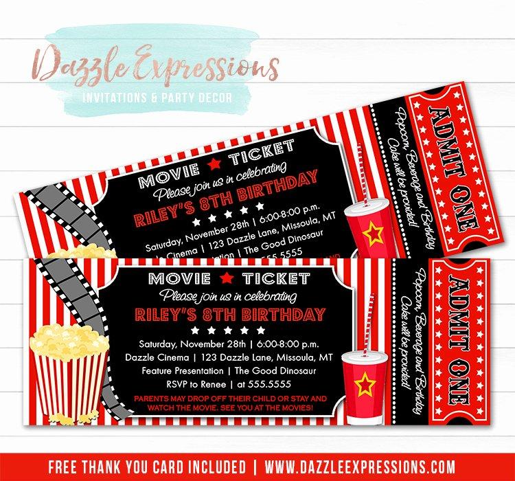 Movie Ticket Birthday Invitation Unique Printable Movie Ticket Birthday Invitation Movie Night