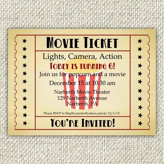 Movie Ticket Birthday Invitation Unique Vintage Movie Birthday Invitation Movie Party Invitation