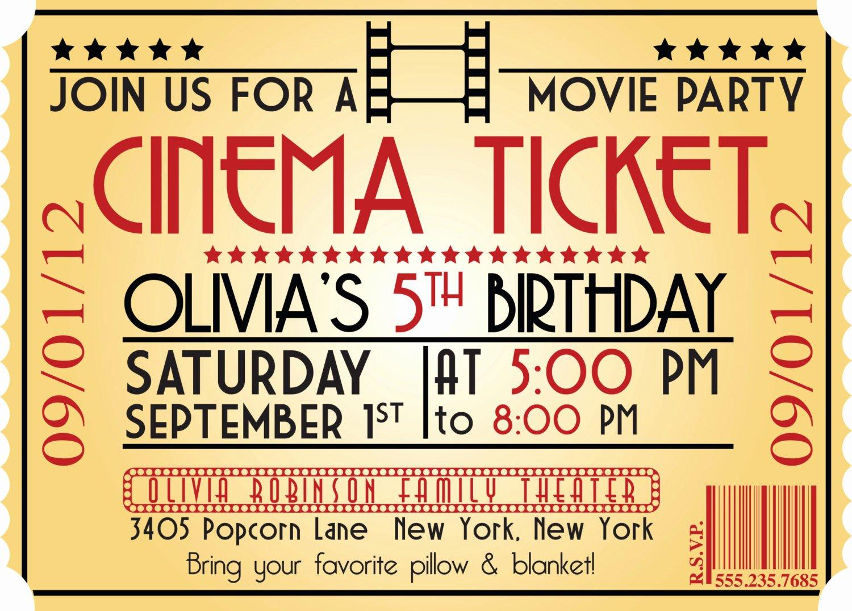 movie ticket birthday invitations ideas