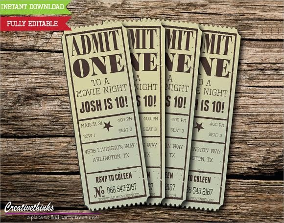 Movie Ticket Invitation Template Unique Vintage Movie Ticket Invitation Template