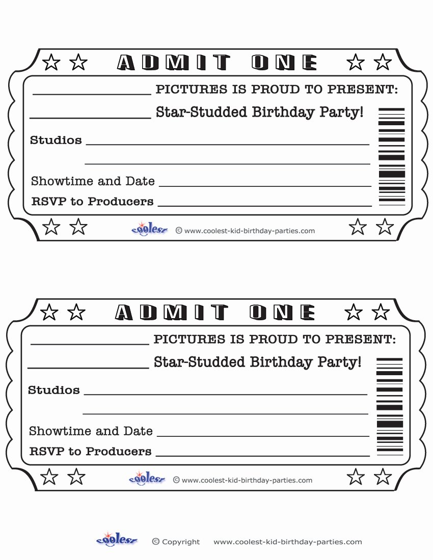 Movie Ticket Template Word Awesome Blank Movie Ticket Invitation Template Free Download Aashe