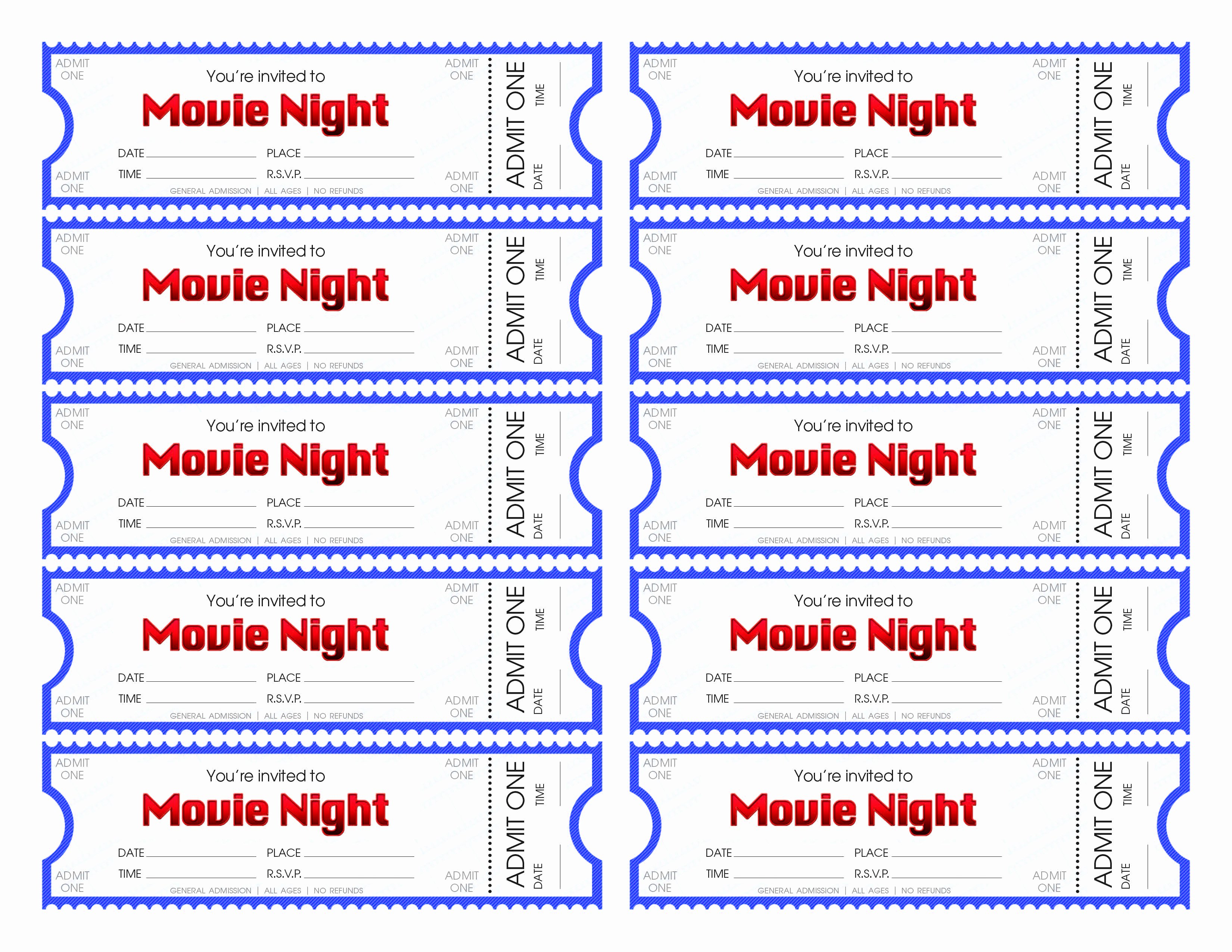 Movie Ticket Template Word Awesome Make Your Own Movie Night Tickets