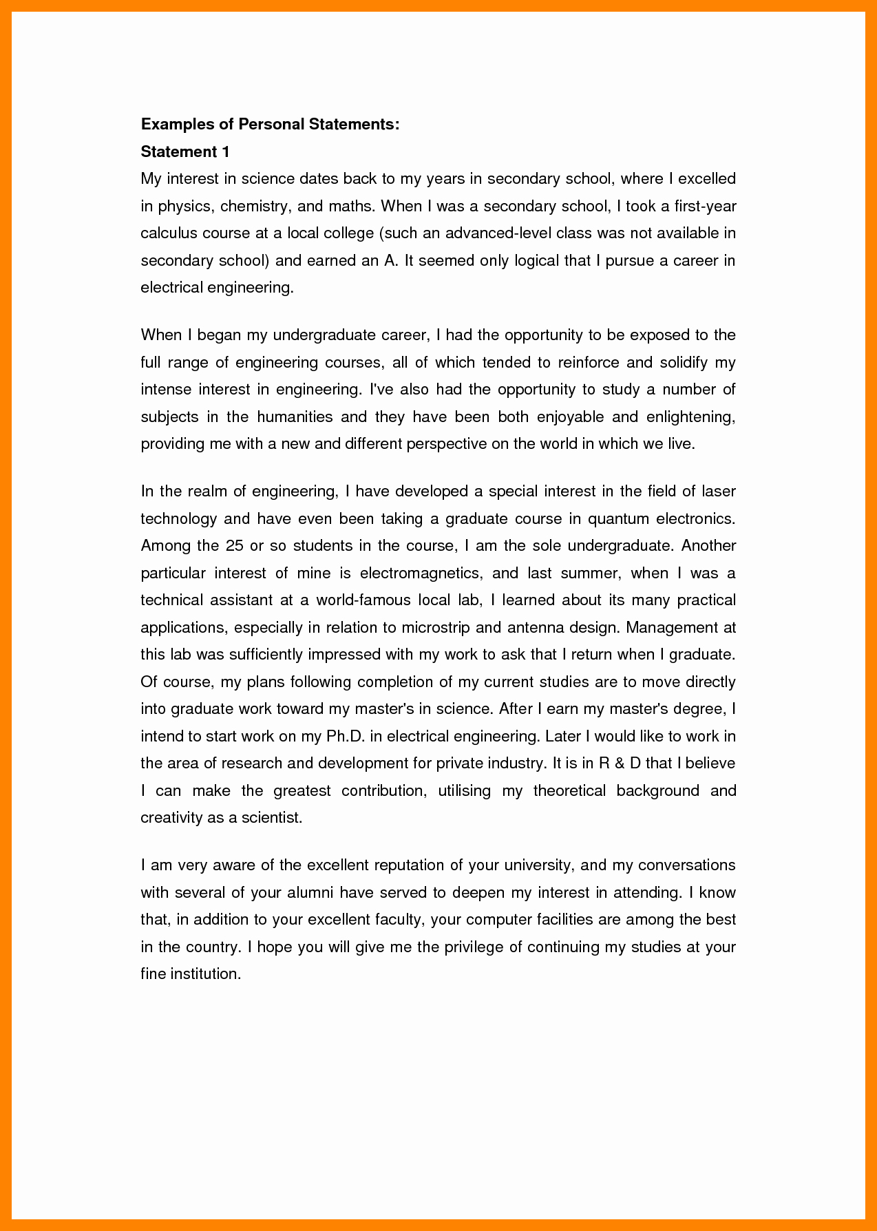 Mpa Personal Statement Sample Fresh 8 Personal Statement In Apa format Example