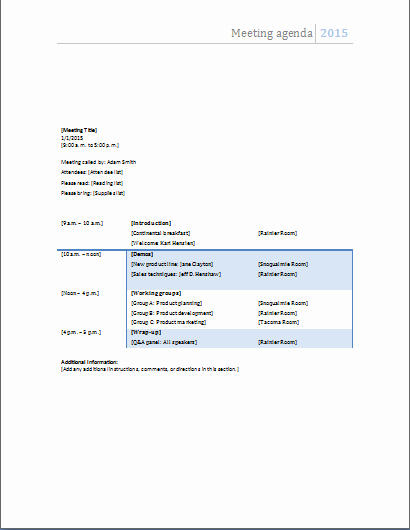 Ms Office Agenda Template Inspirational Ms Word Ficial Meeting Agenda Templates