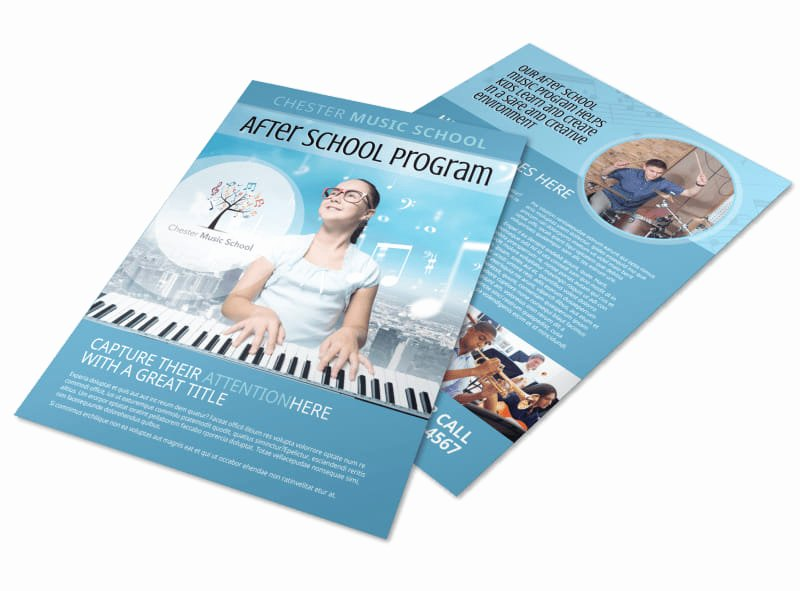 after school music program flyer template