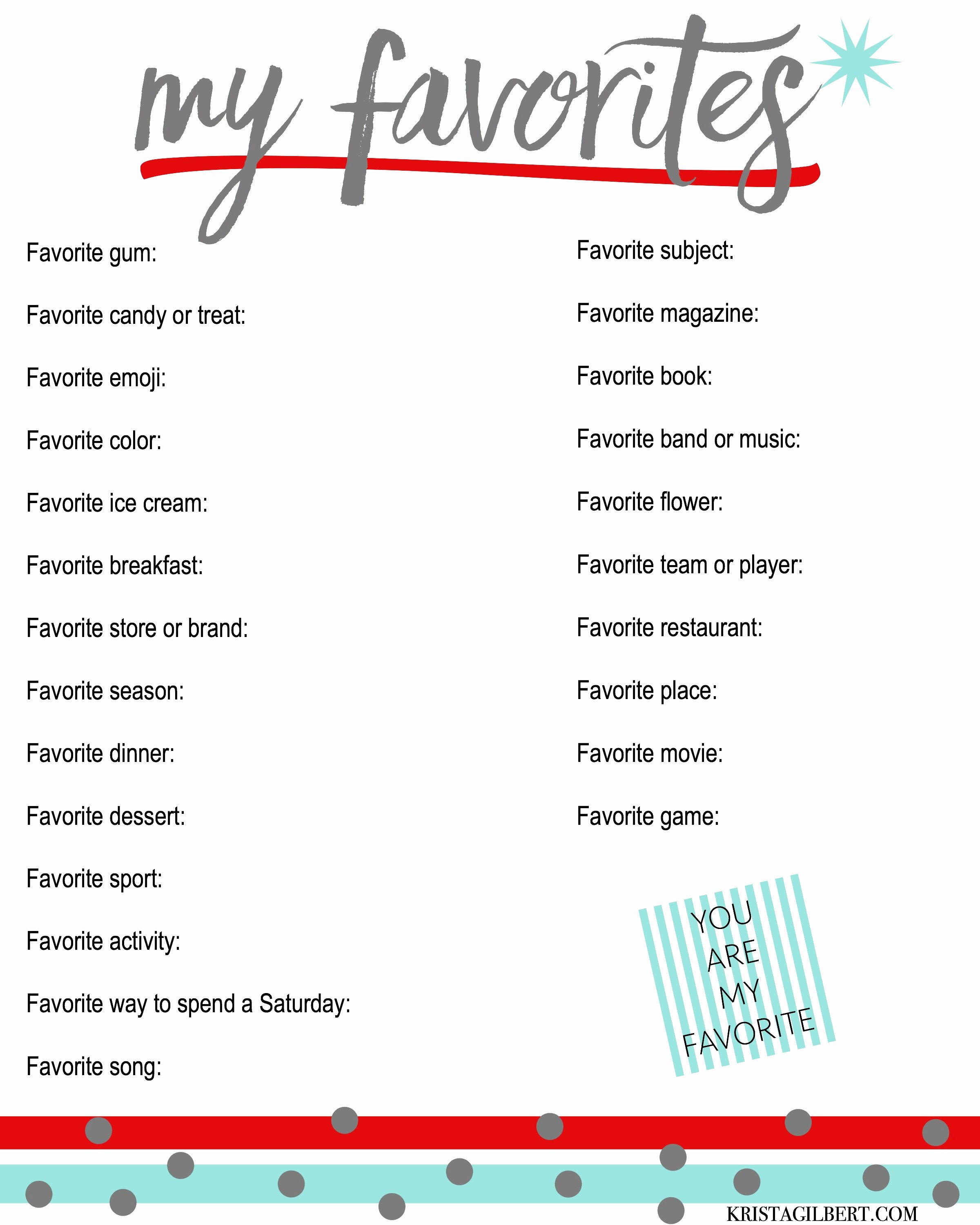 My Favorite Things List Template Beautiful A List Of Your Family S Favorite Things Know them