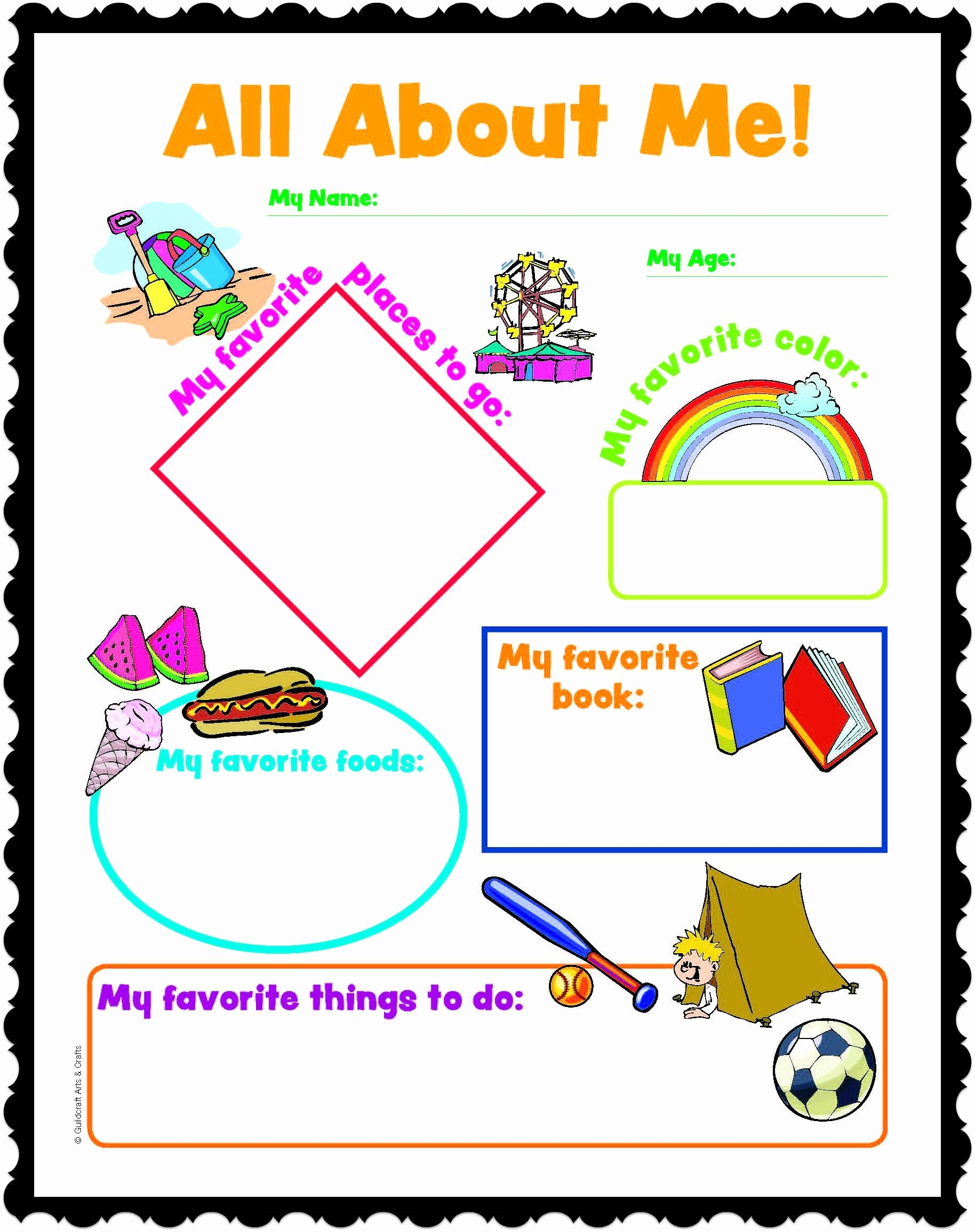 My Favorite Things List Template Beautiful All About Me Printables