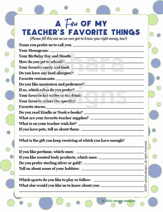 My Favorite Things List Template Inspirational Teacher S Favorites List Teacher Questionnaire Teacher