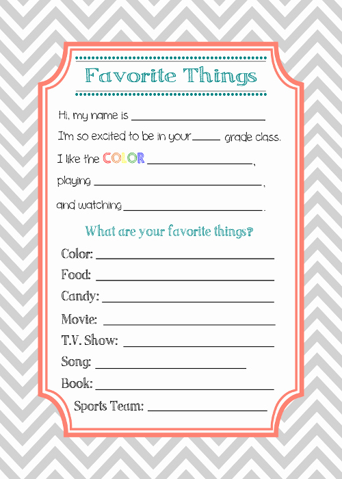 My Favorite Things List Template New Back to School Teacher Interview
