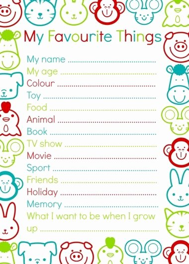 My Favorite Things List Template New My Favourite Things Template to Interview Your Child